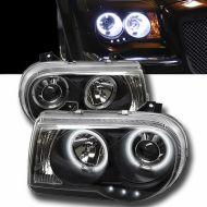 Kristalni farovi Angel eyes Chrysler 300C (04-08) - crni