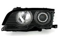 Kristalni farovi CCFL Angel Eyes BMW E46 Limuzina (2001-2005) - crni