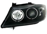 Кристални фарове Angel Eyes BMW E90  (2005-2009) - черни