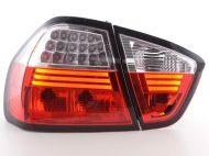 Kristalna LED štop svetla BMW E90 Limuzina (05-08) - crvena / hrom